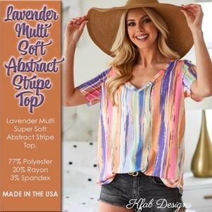 Lavender Multi Soft Abstract Stripe Top